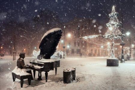 Pomnik Rubinsteina - Pasaż Rubinsteina przy ulicy Piotrkowskiej w zimowej odsłonie